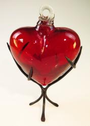 Red Glass Heart with Thorn Display Rack Large