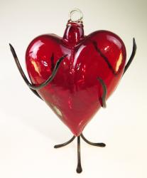 Red Glass Heart with Thorn Display Rack Extra Large