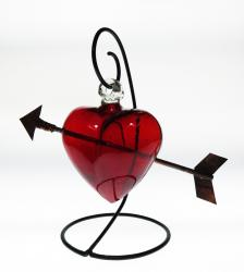 Large six inch heart with copper arrow on stand