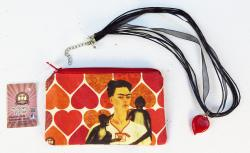 Red Heart necklace with Frida Kahlo heart bag