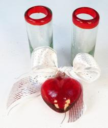Red Glass Heart with Red Rim shots
