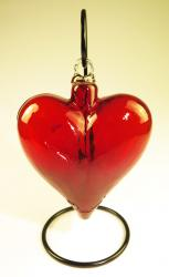 Red Blown Glass Heart XL 8 inches with display rack