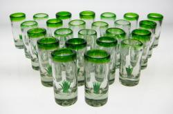 Mexican shot glass agave cactus tequila set of 24