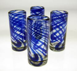 Blue Swirl Shot Glasses, Set of Four