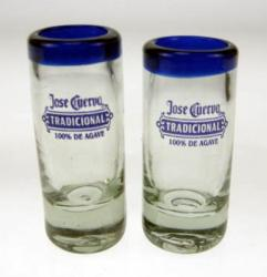 Set of Two Blue Rim Jose Cuervo Shot Glasses