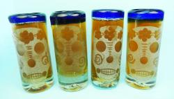Skull etched blue rim shot glasses (4)