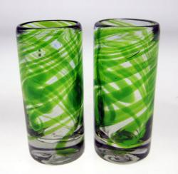 Set of Two Green Swirl Shot Glasses
