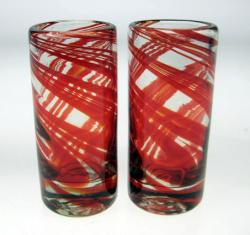 Set of Two Red Swirl Shot Glasses