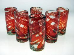 Set of Six Red Swirl Shot Glasses