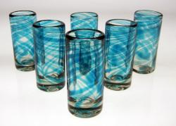 Set of Six Turquoise Swirl Shot Glasses