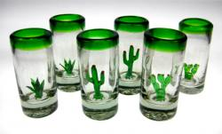 shot glasses green rim saguraro agave Mexico