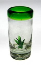 Mexican Green Rim Tequila Shot glass Agave Cactus inside