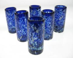 Shot Glasses, Blue & White Confetti, Set of Six