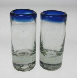 Shot Glasses, Blue Rim, Set of Two