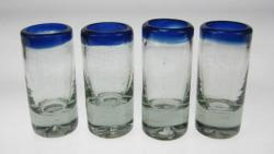 Shot Glasses, Blue Rim, Set of Four