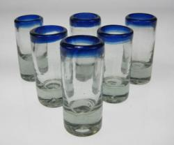 Shot Glasses, Blue Rim, Set of Six