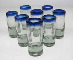 shot glasses from Mexico blue rim glass