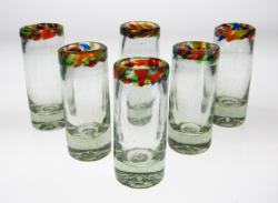 Shot Glasses, Confetti Rim, Set of 6