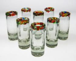 Shot Glass, Confetti Rim, Set of 8