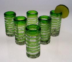 shot glasses Mexican green spiral hand blown in Mexico