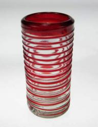 Shot Glass, Red Spiral Rim, One