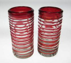 Shot Glasses, Red Spiral Rim, Set of 2