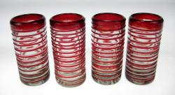 Shot Glasses, Red Spiral Rim, Set of Four