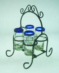 Shot Glass Set with Rack, Blue Rim, Set of 4