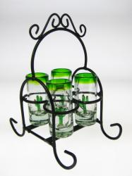 Mexican Shot Glass Set with Rack, Cactus, Set of 4
