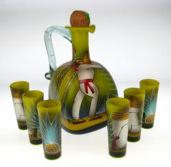 Sleepy Sombrero hand painted Square bottle and 6 shots