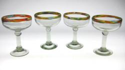 Mexican glass, confetti rim Margarita glass 4
