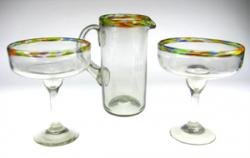 Mexican glass exlg confetti rim margarita glasses w pitcher 2