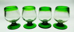 Liquor glass, green rim, 2oz snifter, Set of Four