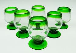 Liquor glass, green rim, 2oz snifter, Set of Six
