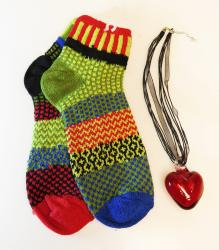 "Red Heart 2"" with Snapdragon solmate socks"