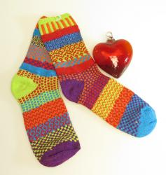 "Red Heart 4"" with Cosmos solmate socks"