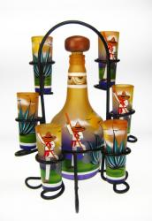 Shot Glasses Tequila Bottle Set, Yellow Agave Cutter Design, Set of 6