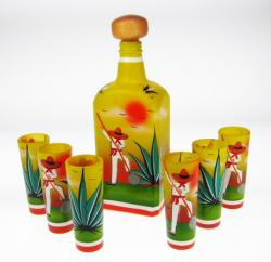 Shot Glasses Tequila Set, Yellow Agave Digger Design, Set of 6