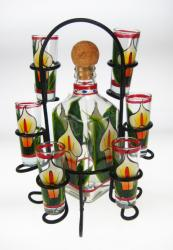 Shot Glass and Tequila Bottle Set with Rack, Clear Calla Lily Design, Set of 6