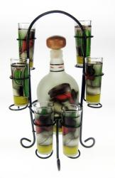 Frosted Red Shirt Agave Obrero (Worker) Design Tequila Set