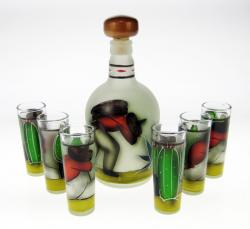 Frosted Red Shirt Agave Obrero Design Tequila Set
