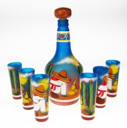 Mexican Shot Glass Tequila Bottle Set, Sleeper Design, Blue, Set of 6