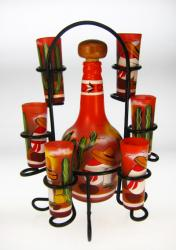 Shot Glass Tequila Bottle Set with Rack, Sleeper Design, Orange, Set of 6