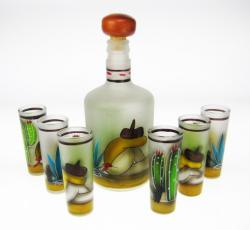 Shot Glass Tequila Bottle Set, Frosted Sleeper Design, Set of 6