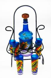 Shot Glass Tequila Bottle Set with Rack, Sunflower Design, Blue, Set of 6