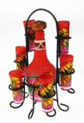 Shot Glass Tequila Bottle Set with Rack, Sunflower Design, Red, Set of 6