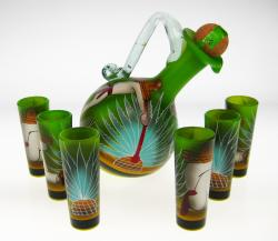 Mexican Shot Glass Tequila Bottle Set agave harvest