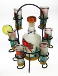 Shot Glasses Tequila Bottle Set with Rack, Frosted Red Shirt Agave Cutter Design, Set of 6