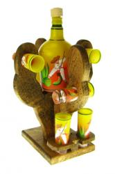 Mexican tequila bottle set agave cutter matching shot glasses saguaro cactus
