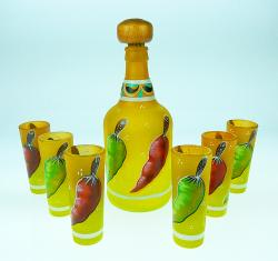 Shot Glasses and Tequila Bottle Set, Chili Design in Yellow, Set of 6